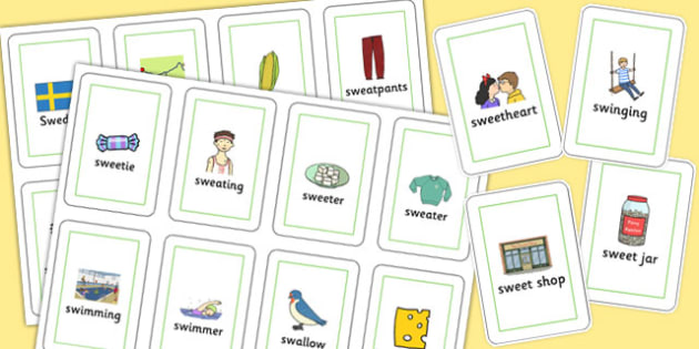Two Syllable 'SW' Flash Cards - sw sound, syllable, flash cards