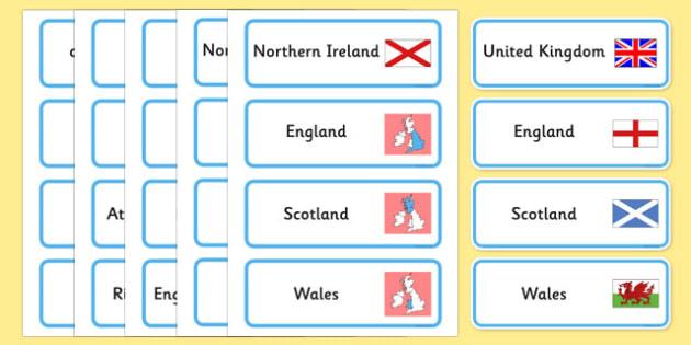Our Country UK Word Cards - our, country, uk, word cards, cards
