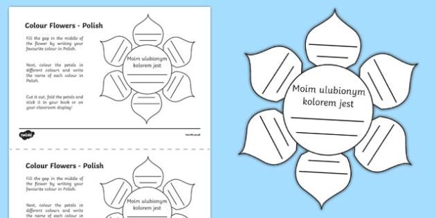 MFL Polish Colour Flowers Activity Sheet, worksheet