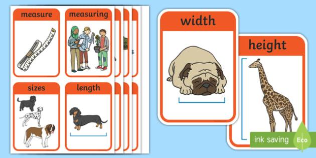 CfE Early Level Numeracy and Mathematics Measurement (Linear) Keyword Flashcards-Scottish