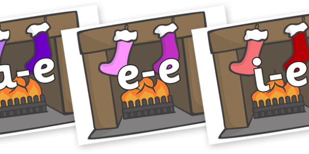 Modifying E Letters on Stockings & Fireplace - Modifying E, letters, modify, Phase 5, Phase five, alternative spellings for phonemes, DfES letters and Sounds