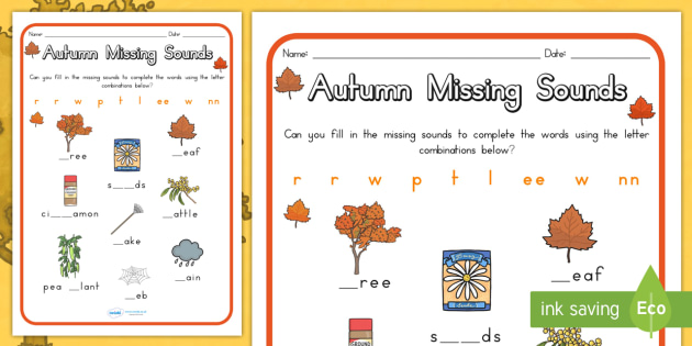 Autumn Missing Sounds Worksheet - seasons, weather, sound