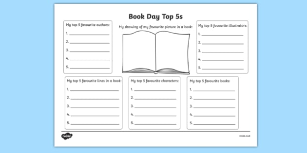 Book Day Top 5s Activity Sheet, worksheet
