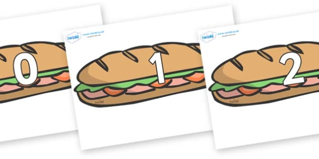 Numbers 0-100 on Sandwiches - 0-100, foundation stage numeracy, Number recognition, Number flashcards, counting, number frieze, Display numbers, number posters
