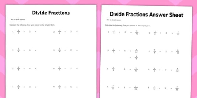 Year 6 Divide Fractions Activity Sheet maths ks2 upper key – Worksheet on Dividing Fractions