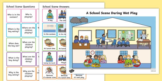 Picture Scenes and 'Wh' Questions School Scene - australia, questions