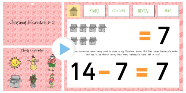 Christmas Subtraction to 20 PowerPoint - australia, christmas
