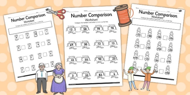 The Elves and the Shoemaker Number Comparison Worksheets - sheet