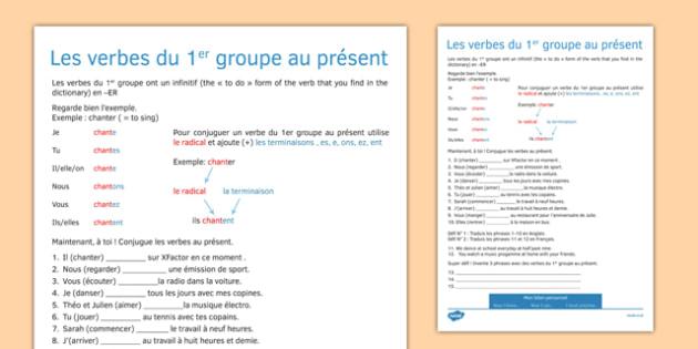Le présent des verbes en -ER Present Tense ER Verbs French - french, present tense, er, verbs, tense