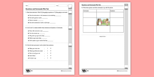 Questions and Commands Mini Test - sentences, exclamation marks, question marks, command, bossy verbs, questions