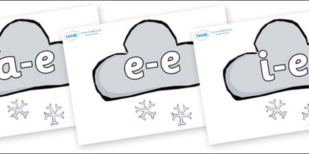 Modifying E Letters on Weather Symbols (Snow) - Modifying E, letters, modify, Phase 5, Phase five, alternative spellings for phonemes, DfES letters and Sounds