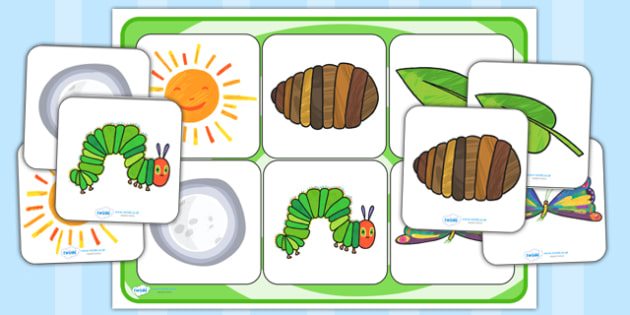 Matching Cards and Board to Support Teaching on The Very Hungry Caterpillar - the very hungry caterpillar, the very hungry caterpillar picture matching, sen story matching cards