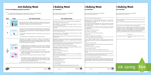 KS2 Anti-Bullying Assembly Script - Priority Resources, anti bullying week, bullying, pshe, pshce, script, assembly, SLT