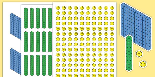 Dienes Cut-Outs - Dienes, base ten, place value, number system, hundreds, tens, units, ones, fractions, decimals