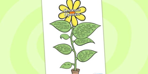 Sentence Opener Flowers - sentence, opener, flowers, literacy
