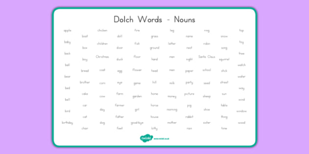 Dolch Words Word Mat Nouns - usa, dolch, words, word mat, word, mat, nouns