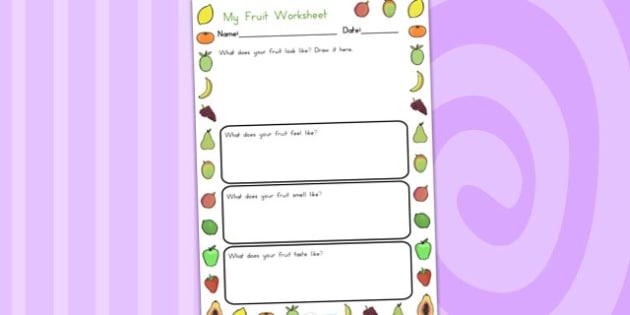 Fruits Description Worksheet - fruit, health, healthy eating