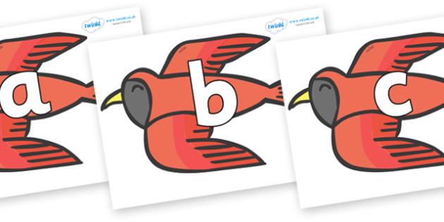 Phoneme Set on Red Bird to Support Teaching on Brown Bear, Brown Bear - Phoneme set, phonemes, phoneme, Letters and Sounds, DfES, display, Phase 1, Phase 2, Phase 3, Phase 5, Foundation, Literacy