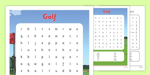 Rio 2016 Olympics Golf Word Search - rio 2016, 2016 olympics, rio olympics, golf, word search