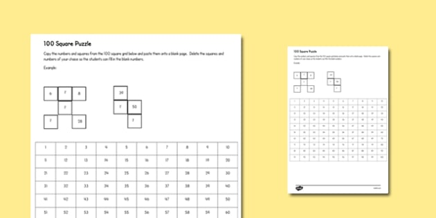 Editable 100 Square Puzzle - counting aid, count, numeracy, maths