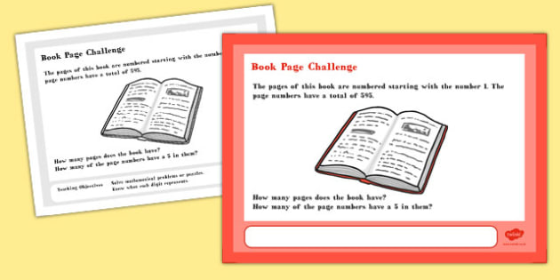 Book Page Maths Challenge A4 Display Posters - challenge, display