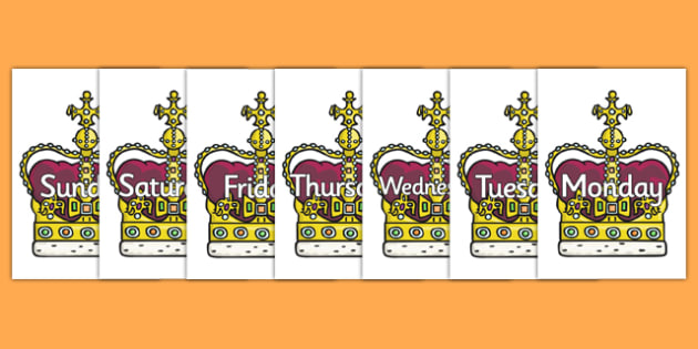 Days of the Week on Crowns - Days of the Week, Weeks poster, week, display, poster, frieze, Days, Day, Monday, Tuesday, Wednesday, Thursday, Friday, Saturday, Sunday