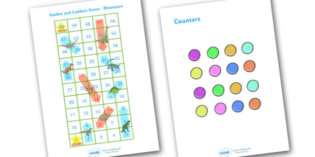 Snakes and Ladders Activity Dinosaurs - snakes, ladders, activity