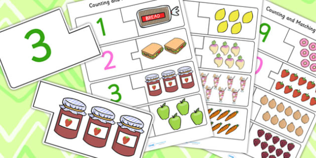 1-12 Food Themed Counting Matching Puzzle - count, counting aid