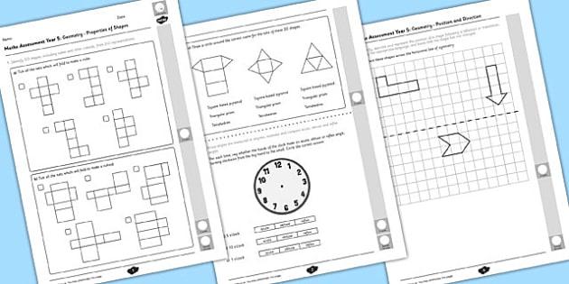 Year 5 Maths Assessment Geometry Term 1 - assessments, math, assess