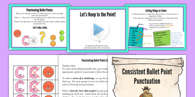 UKS2 Punctuate Bullet Points Consistently Teaching Ideas Pack
