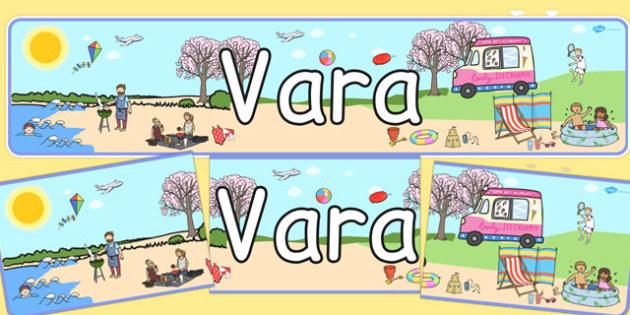 Vara - Banner - vară, vara, banner, de afișat, în clasă, decor, materiale didactice, română, romana, material, material