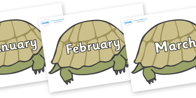 Months of the Year on Tortoises - Months of the Year, Months poster, Months display, display, poster, frieze, Months, month, January, February, March, April, May, June, July, August, September