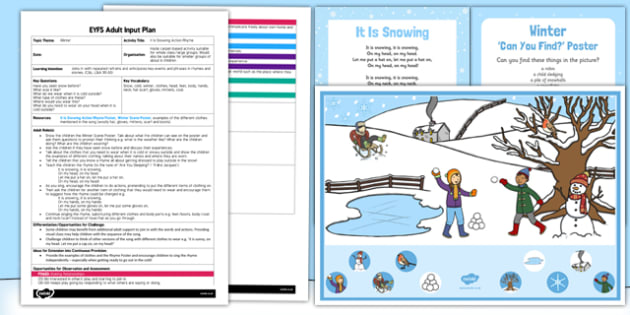 It Is Snowing Action Rhyme EYFS Adult Input Plan and Resource Pack - snowing, action, rhyme, eyfs, adult input plan, pack