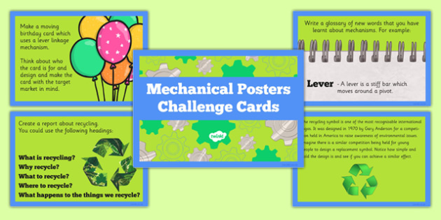 Mechanical Posters Challenge Cards - Go Green, Eco, recycle, warrior, environment