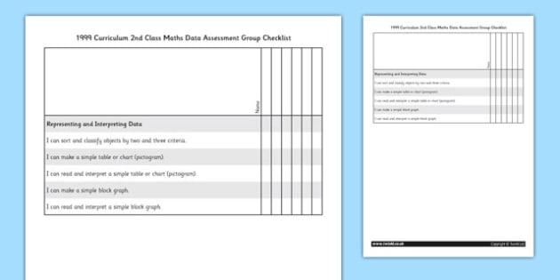 1999 Curriculum 2nd Class Maths Data Assessment Targets Group Checklist - roi, irish, republic of ireland