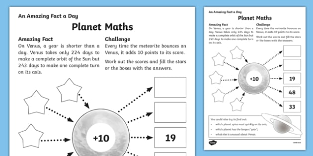 Maths Activity Sheet worksheet – Planet Worksheet