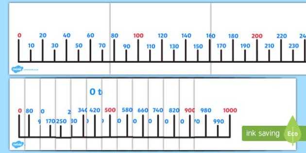 Giant 0-1000 Number Line 10s - giant, 0-1000, number line, numberline, 10