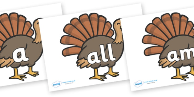 Foundation Stage 2 Keywords on Turkeys - FS2, CLL, keywords, Communication language and literacy,  Display, Key words, high frequency words, foundation stage literacy, DfES Letters and Sounds, Letters and Sounds, spelling