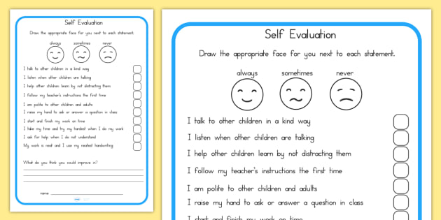 Evaluation Sheet - Behaviour Management, Self Evaluation