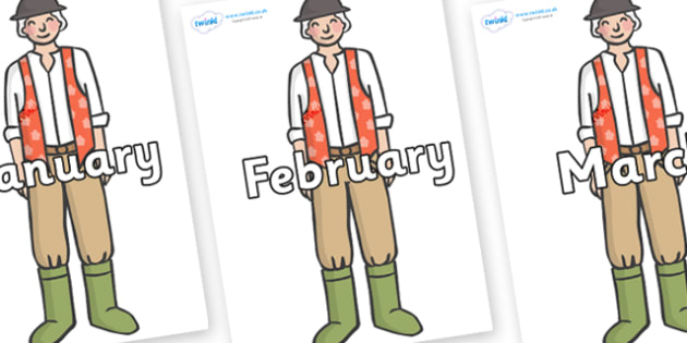 Months of the Year on Farmer to Support Teaching on Pig in the Pond - Months of the Year, Months poster, Months display, display, poster, frieze, Months, month, January, February, March, April, May, June, July, August, September