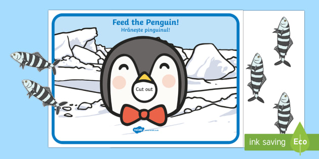 Feed the Penguin Counting Activity English/Romanian - The Arctic, Polar Regions, north pole, south pole, explorers, counting, Romanian translation