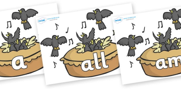 Foundation Stage 2 Keywords on Blackbirds in a Pie - FS2, CLL, keywords, Communication language and literacy,  Display, Key words, high frequency words, foundation stage literacy, DfES Letters and Sounds, Letters and Sounds, spelling