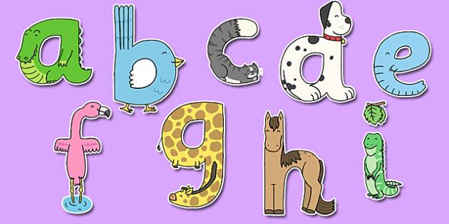 Lower Case Animal Alphabet Display Lettering - display lettering, animal, alphabet