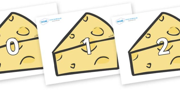 Numbers 0-50 on Cheese - 0-50, foundation stage numeracy, Number recognition, Number flashcards, counting, number frieze, Display numbers, number posters
