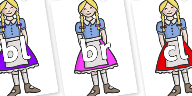 Initial Letter Blends on Gretel - Initial Letters, initial letter, letter blend, letter blends, consonant, consonants, digraph, trigraph, literacy, alphabet, letters, foundation stage literacy