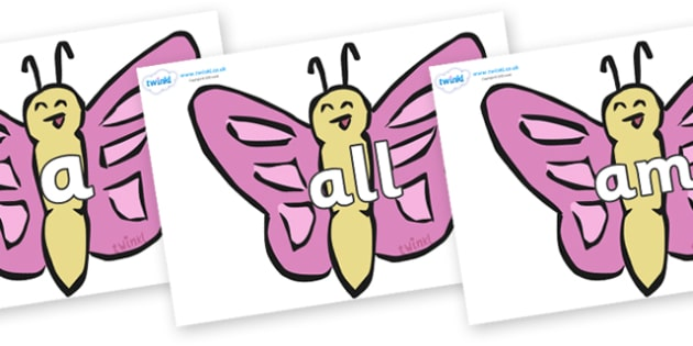 Foundation Stage 2 Keywords on Butterflies - FS2, CLL, keywords, Communication language and literacy,  Display, Key words, high frequency words, foundation stage literacy, DfES Letters and Sounds, Letters and Sounds, spelling