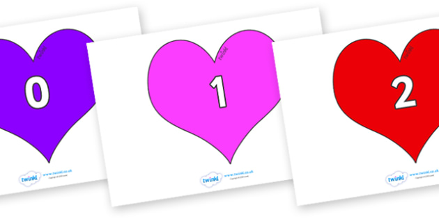 Numbers 0-31 on Hearts (Multicolour) - 0-31, foundation stage numeracy, Number recognition, Number flashcards, counting, number frieze, Display numbers, number posters