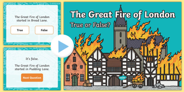 The Great Fire of London: True or False? Quiz PowerPoint