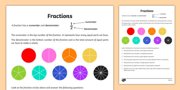 Fraction Activity Sheet - canada, Mathematics, addition, subtraction, transformations, translation, reflection, rotation, angles, geometry, fractions, worksheet