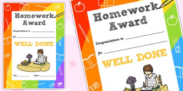 Homework Decorative Certificate - homework, certificate, home